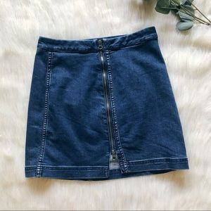 Free People Fully-Zipped Jean Skirt